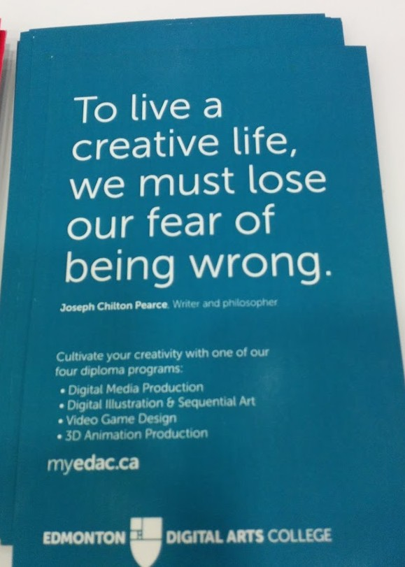 "EDAC Postcard ""To Live a creative life, we must lose our fear of being wrong"""