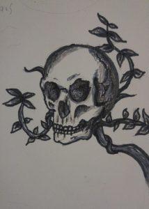 Concept Skull for the horror novel Seed Me by Konn Lavery